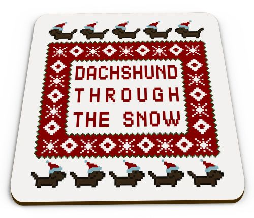 Dachshund Through The Snow Funny Christmas Pixel Novelty Glossy Mug Coaster